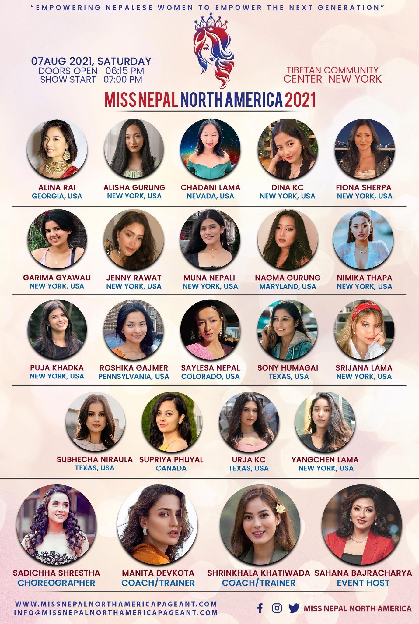 मिस नेपाल नर्थ अमेरिकाको अन्तिम १९ जना प्रतियोगीहरुको नामावली सार्वजनिक